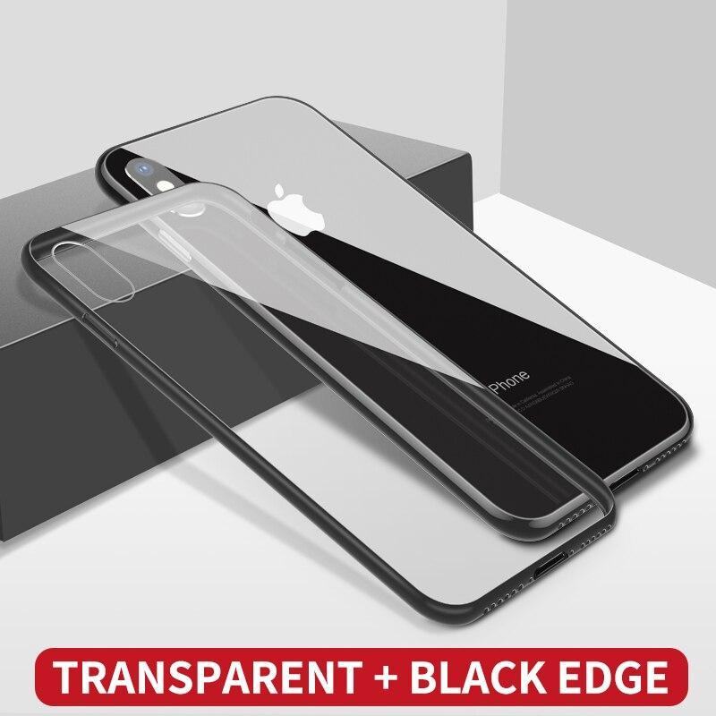 Ihaitun Luxury Glass Case For Iphone Xs Max Xr Cases Ultra Thin Transparent Glass Cover For Iphone X 10 7 8 Plus Slim Soft Edge