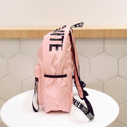 Women Canvas Backpack for School Teenagers Girls Casual Shoulder Bags Ladies Pink Letter Backpack Female Bookbag Student Bag