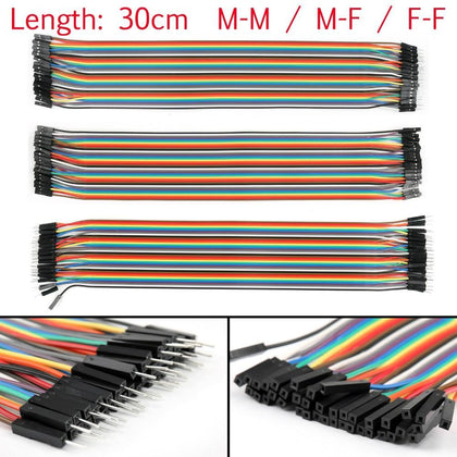 Areyourshop 40Pcs Dupont Wire Jumper Cables 30cm M-M M-F F-F 1P-1P For Arduino Breadboard 30cm Wholesale Male Female Cables