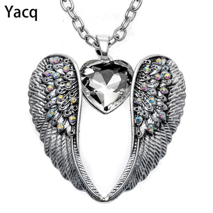 YACQ Guardian Angel Wing Heart Necklace Antique Silver Color Women Girls Biker Bling Crystal Jewelry Gifts Dropshipping NC06