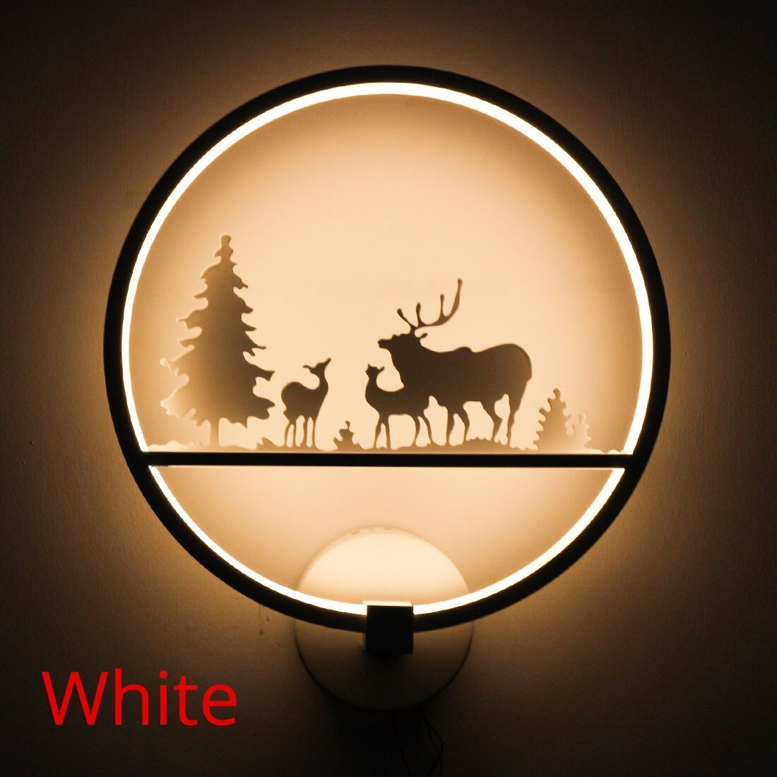 Lediary Romantic Led Wall Lamp Creative Painting 110-240V Modern Black Sconce Decoration For Bathroom Living Bed Room Animal