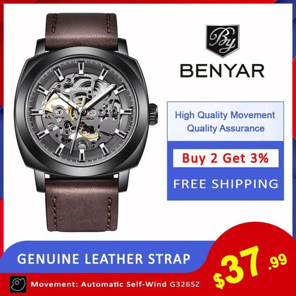 BENYAR Men's Watches Top Brand Luxury Business Automatic Mechanical Watch Men Waterproof Sport Wrist Watches Relogio Masculino