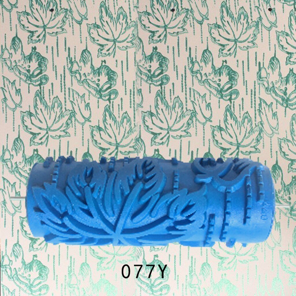 5'' Rubber Embossed Flower Pattern Diy Paint Roller Sleeve Decorative Texture Roller For Wall Painting Machine