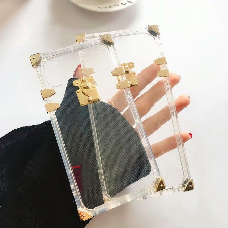 Luxury Brand Clear Crystal Square Case For Iphone Xr Xs Max Tpu Silicon Soft Phone Case For Iphone X 7 8 Plus Back Cover Funds