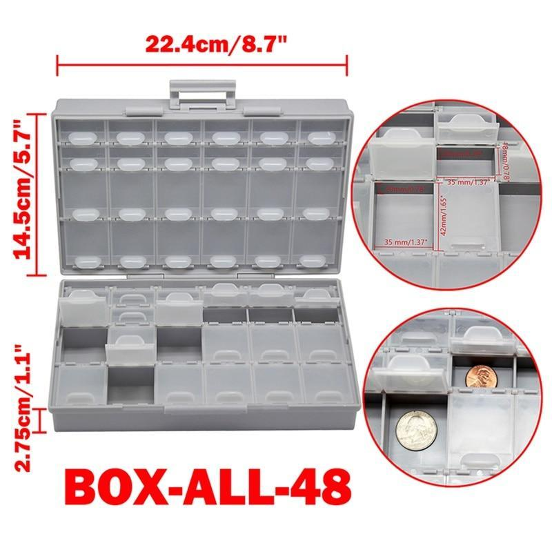 Aidetek Smd Storage Box Plastic Case Surface Mount Resistors Capacitors Well Small Compartment Tiny Organizer Toolbox Box Storag