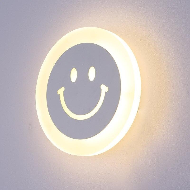 Creative Led Smile Face Wall Lamp Simple Kids Cartoon Bed Room Light Ultra-Thin Acrylic Porch Aisle Lanterns Passage Luminaire