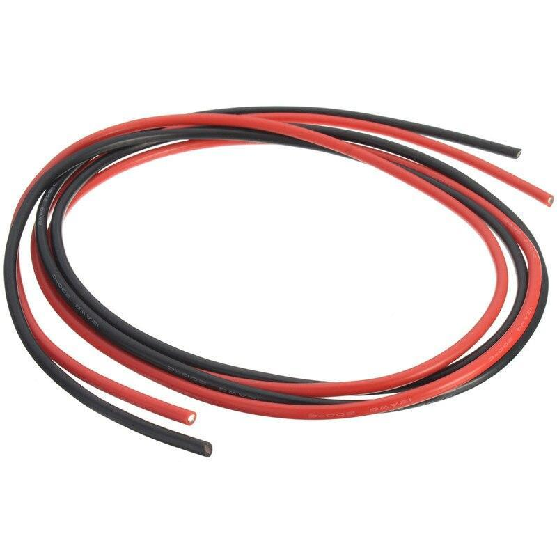12 Awg 10 Feet 3 Meters Gauge Silicone Wire Flexible Stranded Copper Cables For Rc One Black One Red Wires