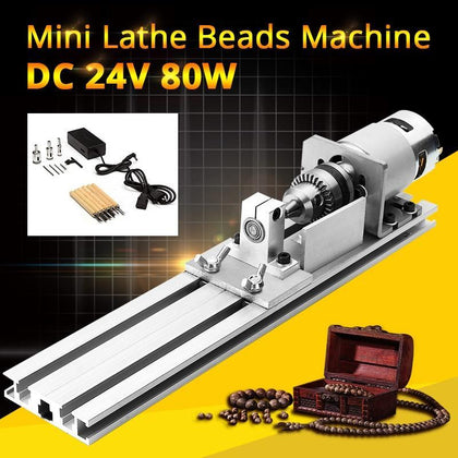 DC 24V 80W Mini Lathe Beads Machine Woodworking DIY Lathe Standard Set Polishing Cutting Drill Rotary Tool with Power Supply