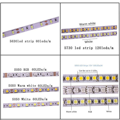 SMD 2835 5630 5050 60/120/240/480LEDs/m RGB LED Strip 5M 300/600/1200/2400LEDs/m  DC12V 24V W RGB LED Light Strips Flexible Tape