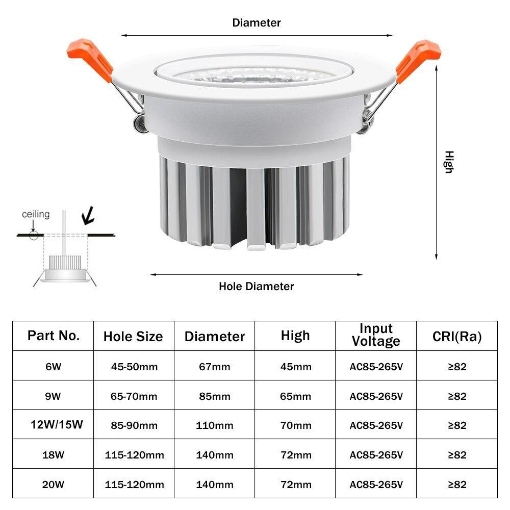 [Dbf] 2019 New Model Led Dimmable Downlight Cob 6W 9W 12W 15W 18W 20W Led Spot Light Led Decoration Ceiling Lamp Ac 110V 220V