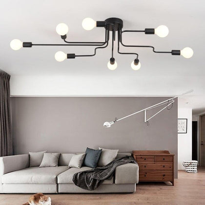 Iron Pendant Light Led Industrial Lamp Modern Spider Pendant Lamp Black Loft Hanglamp Industrieel Living Room Luminaire Suspendu