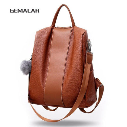 Women's Waterproof Backpack Casual female Bag Anti-theft Bagpack Lightweight School Shoulder Bag PU Leather