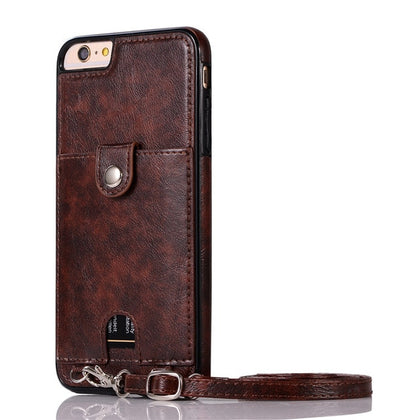 Haissky Vintage PU Leather Back Case for iPhone 11 Pro Max Xs Max XR X Wallet Card Case for iPhone 6 6S 7 8 Plus Case With Strap