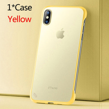 USLION Frameless Transparent Phone Case For iPhone X 7 6S 8 Plus Cover XS Max XR 11 Pro Max With Finger Ring Holder Stand Cases