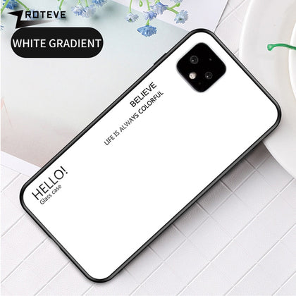 ZROTEVE Cover For Google Pixel 4 XL Case Glass Back Cover For Google Pixel 4 Case Silicone Tempered Glass Back Cover Pixel 4 XL