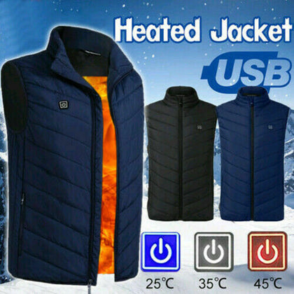 Electric Vest Heated Jacket USB Thermal Warm Heated Pad Winter Body Warmer USA