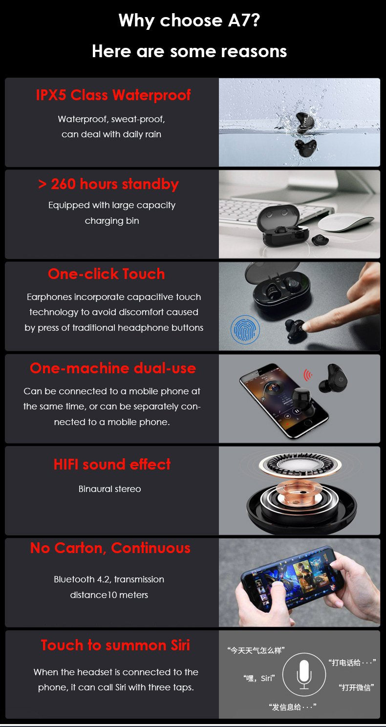 Kungfu Long TWS A7 Bluetooth Earphone