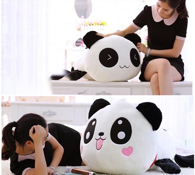 45cm/55cm Cute Cartoon panda plush Toys Smile panda Pillow Doll with hearts on face For Kids Girls gift Y20011