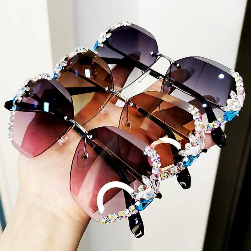 2020 Vintage Fashion Rimless Crystal Sunglasses Diamond Sunscreen Glasses UV
