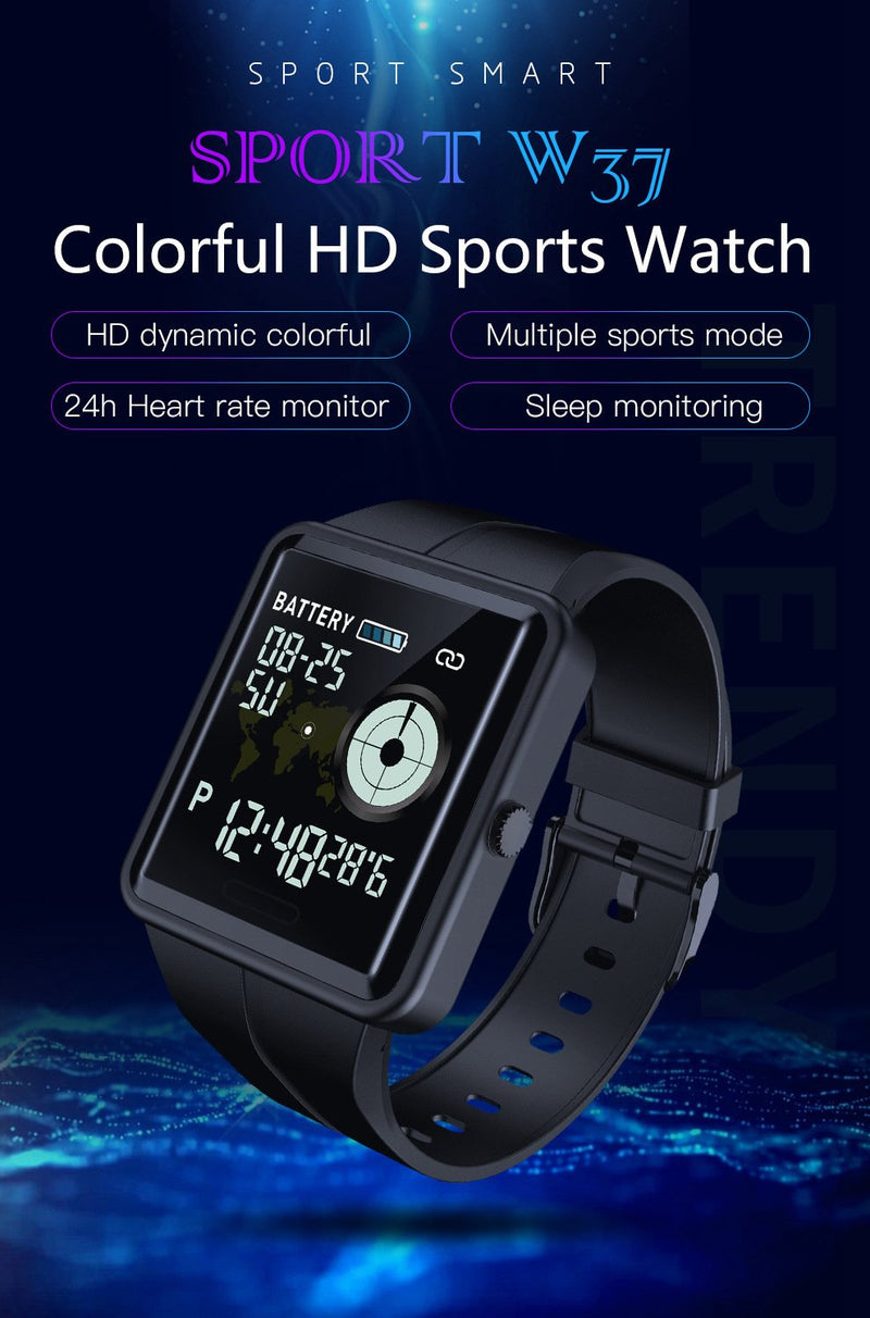 W37 Smart Watch 24-hours Continuous Heart Rate Monitor Men Women Sports Watch