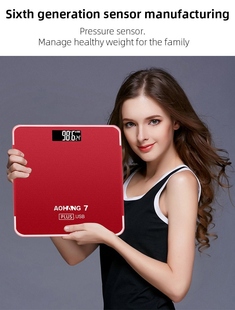 USB household electronic scale electronic scale adult accurate health weighing glass AH31
