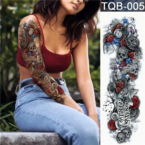 Buy 4 Get 2 Free !!-Waterproof Temporary Tattoo  Body Stickers For Man Women Kids-(Styles-Lion,Flower,Skull,Etc.)