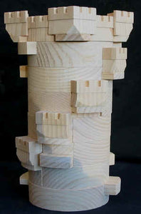 65pc Round Tower Handcrafted Wooden Castle Building Block Set