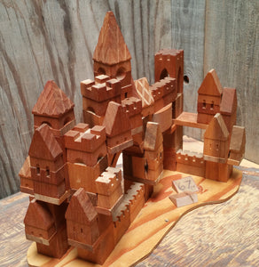 67 Piece Starter Set, Handcrafted Wooden Toy Castle Building Blocks