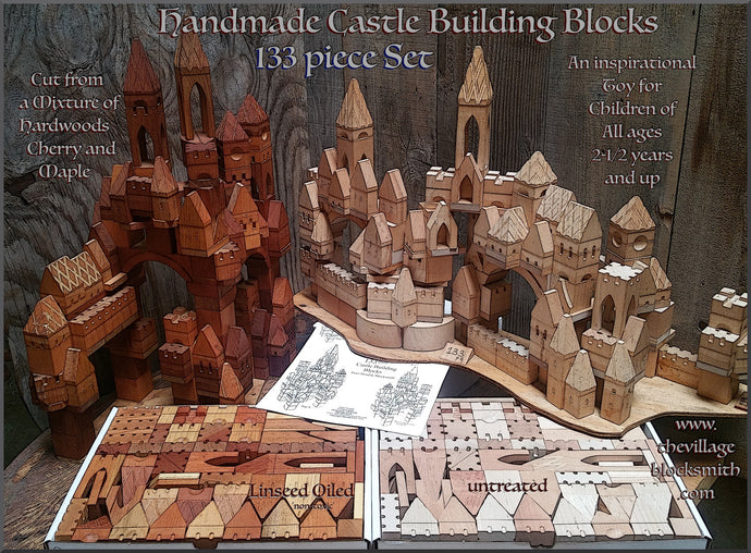 133 Piece Wooden Toy Castle Building Blocks