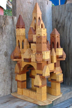 Load image into Gallery viewer, 133pc Wooden Toy Castle Block Building Set from a mixture of cherry and maple hardwoods