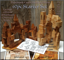 Load image into Gallery viewer, two examples of Castles built with the 67 piece Castle Building Blocks Starter set