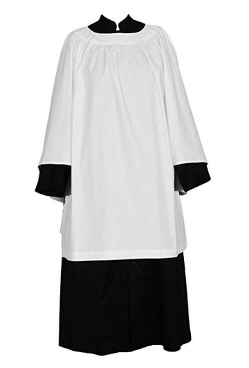 Round Neck Clergy Surplice White