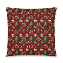 Load image into Gallery viewer, Santa Skulls and Candy Canes Festive Cushion