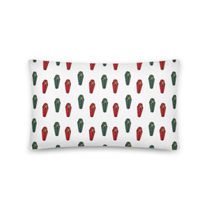 Gift Wrapped Coffin Festive Cushion