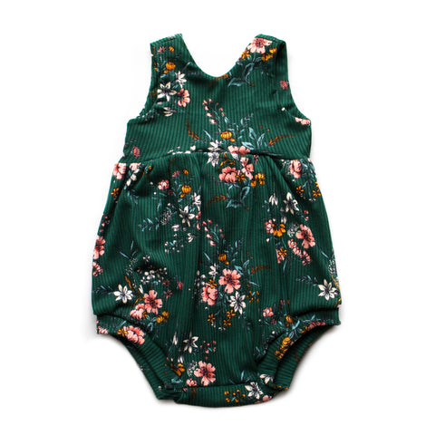 Ribbed Hunter Floral Bubble Romper