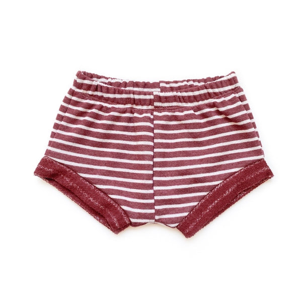 Rust Striped French Terry Shorties