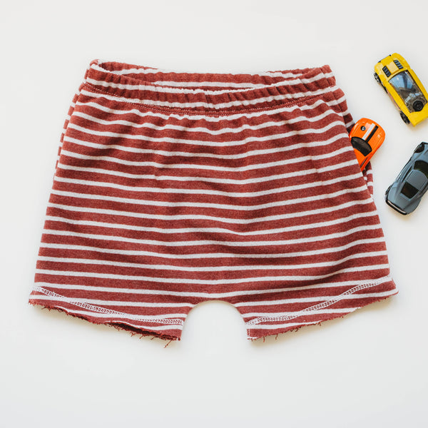 Rust Striped French Terry Boy Shorts