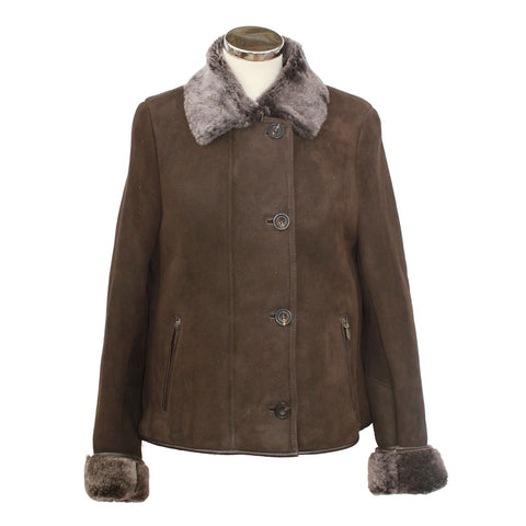 Ladies Sheepskin Jacket with Button & Zip