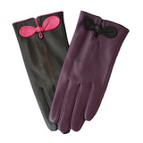 Leather Glove With Colour Bow