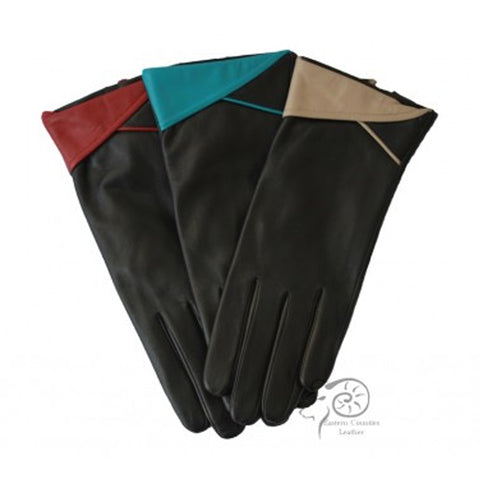L2739 Leather Glove With Cuff Detail
