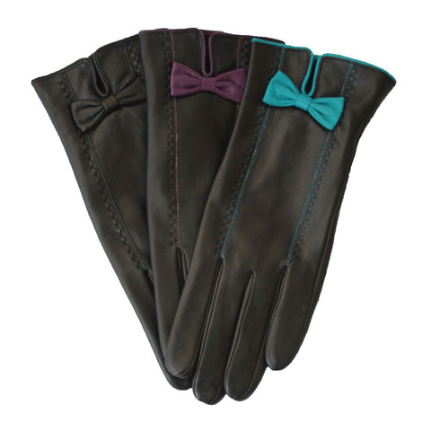 L2774 Leather Glove With Bow And Stitch Detail