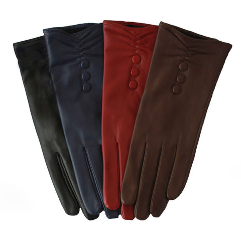 L2813 Leather Glove With Button Detail