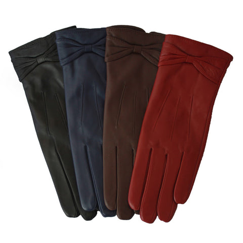 L2858 Leather Glove With Bow Detail