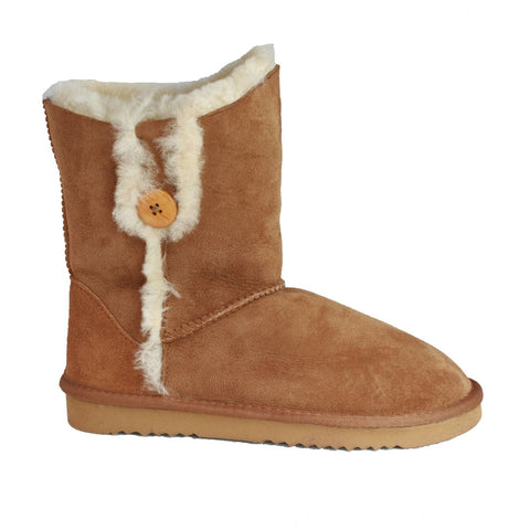 Sheepskin Boot With Button Tab