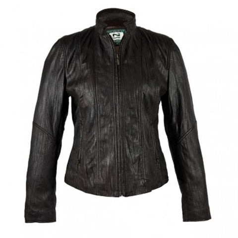 Ladies Leather Jacket With Stand Up Collar