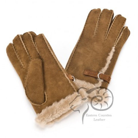 Ladies Sheepskin Glove With Buckle Detail