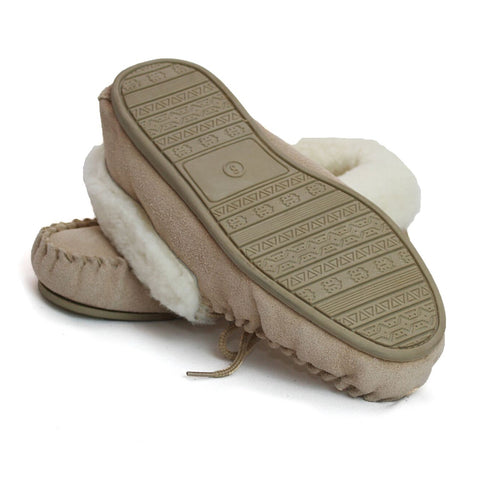 LSM1/S Ladies Sheepskin Lined Moccasin With Hard Sole