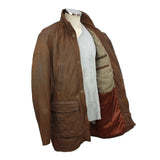 Men's Mid-Length Leather Jacket
