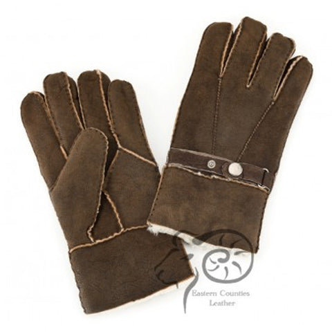 Men's Sheepskin Glove with Strap Detail