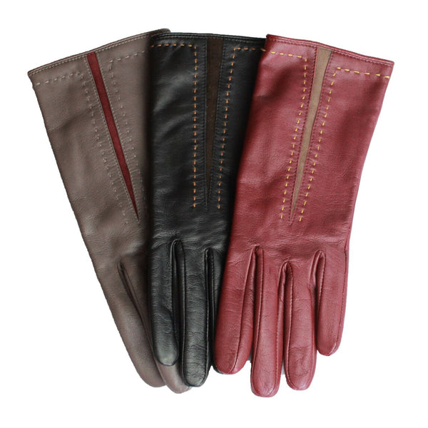 Leather Glove With Colour Panel Detail